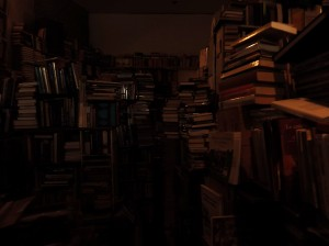 Books Stacked to the ceiling in New Orleans book shop.