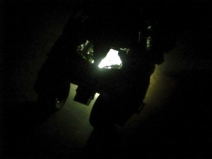 Night Shot of the Lego Tumbler lit from underneath.